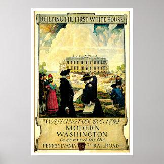 White House Washington D C Vintage Travel Print