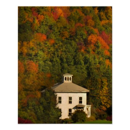 White House with Cupola and Autumn Hills Poster