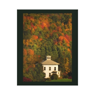 White House with Cupola in Autumn Canvas Print