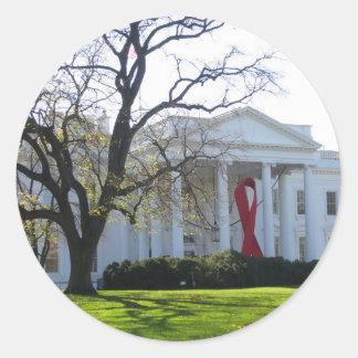 White House World AIDs Day Ribbon Classic Round Sticker