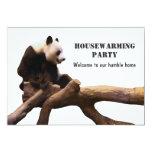 White Housewarming Party Invitation Card Panda