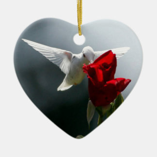 White Hummingbird Ceramic Ornament