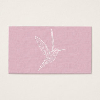 White Hummingbird Pink Background Business Card