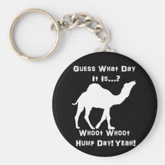 White Hump Day Camel Basic Round Button Keychain