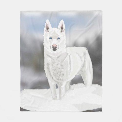 White Husky Fleece Blanket