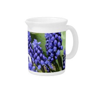 White Hyacinth N Purple Muscari Daisies Pitcher