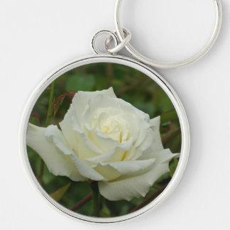 White Hybrid Tea 'Mrs. Herbert Stevens' Rose Keychain