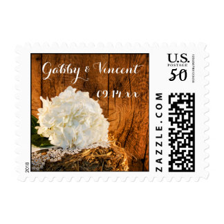 White Hydrangea and Barn Wood Country Wedding Postage