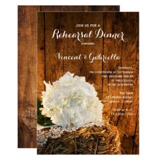 White Hydrangea Barn Wood Wedding Rehearsal Dinner Card