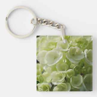 White Hydrangea Blossoms Acrylic Key Chains