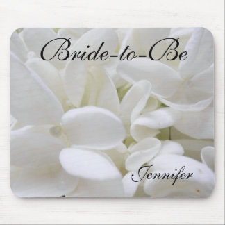 "White Hydrangea ""Bride-to-Be"" mousepad"