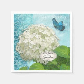 White Hydrangea Butterfly Damask Bridal Shower Napkin