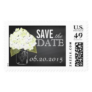 White Hydrangea Chalkboard Mason Jar Save the Date Postage