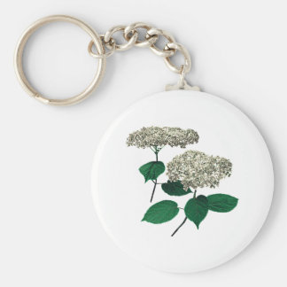 White Hydrangea Clusters Key Chain
