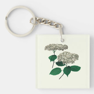 White Hydrangea Clusters Square Acrylic Keychain