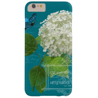 White Hydrangea Cottage Garden Butterfly Script Barely There iPhone 6 Plus Case