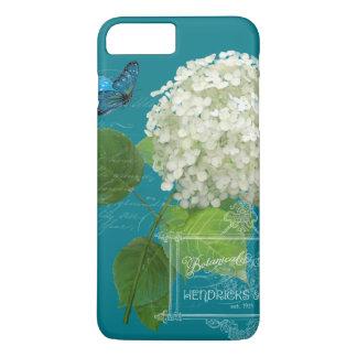 White Hydrangea Cottage Garden Butterfly Script iPhone 7 Plus Case
