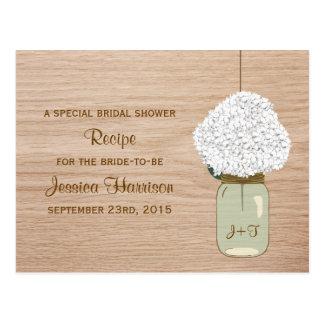 White Hydrangea & Country Mason Jar Bridal Shower Postcard