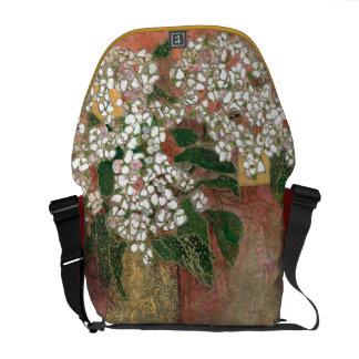"""White Hydrangea"" Courier Bag"