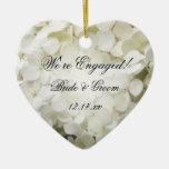 White Hydrangea Engagement Ceramic Ornament