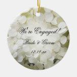 White Hydrangea Engagement Photo Ornament