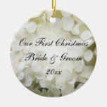 White Hydrangea First Christmas Photo Ornament