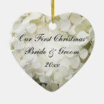 White Hydrangea First Christmas Together Ceramic Ornament