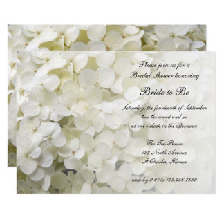 White Hydrangea Floral Bridal Shower Invitation