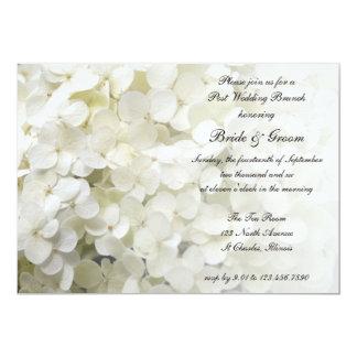 White Hydrangea Floral Post Wedding Brunch Card