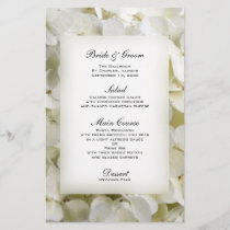 White Hydrangea Floral Wedding Menu