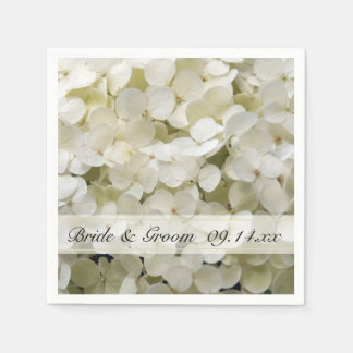 White Hydrangea Floral Wedding Napkin