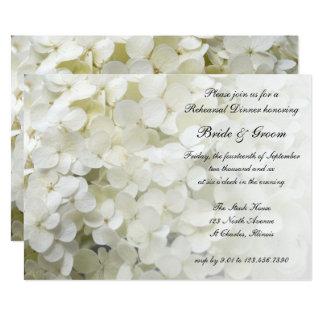 White Hydrangea Floral Wedding Rehearsal Dinner Card