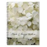 White Hydrangea Floral Wedding Spiral Note Book