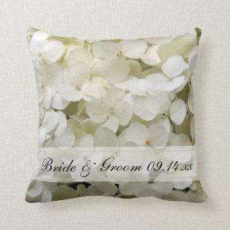 White Hydrangea Floral Wedding Throw Pillows