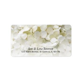 White Hydrangea Flower Address Label
