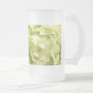 White Hydrangea flower background Frosted Glass Beer Mug