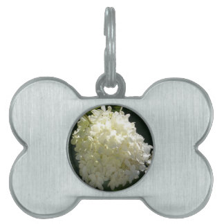 White Hydrangea Flower Cluster Pet Name Tags