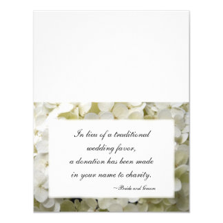White Hydrangea Flower Wedding Charity Favor Cards