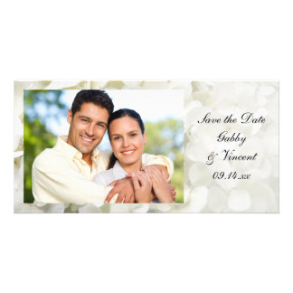 White Hydrangea Flower Wedding Save the Date Card