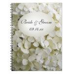 White Hydrangea Flower Wedding Spiral Notebooks