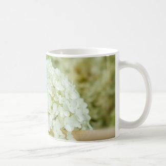 White hydrangea flowers mug