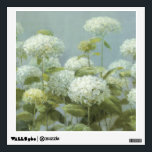 """White Hydrangea Garden Wall Decal<br><div class=""""desc"""">&#169; Danhui Nai / Wild Apple.  The image features a bunch of white Hydrangea flowers. Green leaves and branches can also be seen on the image.</div>"""