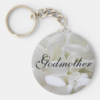 "White Hydrangea ""Godmother"" keyring"