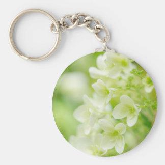 White Hydrangea Basic Round Button Keychain