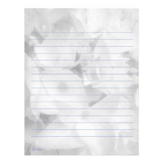 White Hydrangea Lined Letterhead
