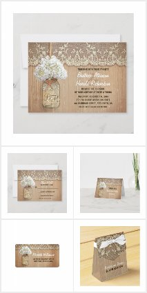 White Hydrangea Mason Jar Wedding
