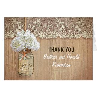 white hydrangea mason jar wedding thank you stationery note card