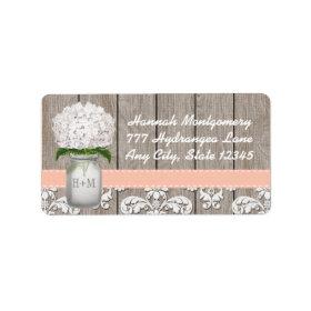 White Hydrangea Monogrammed Mason Jar in Peach Custom Address Label