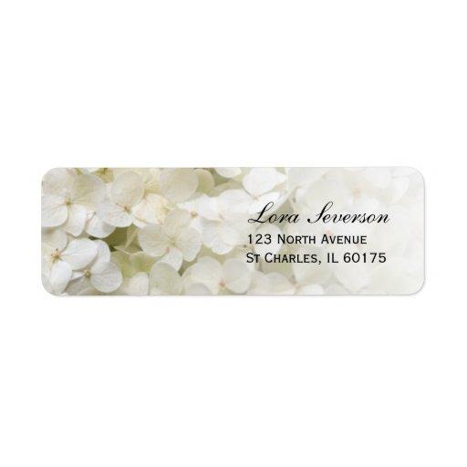 White Hydrangea Return Address Label