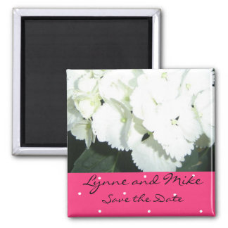 White Hydrangea Save the Date 2 Inch Square Magnet